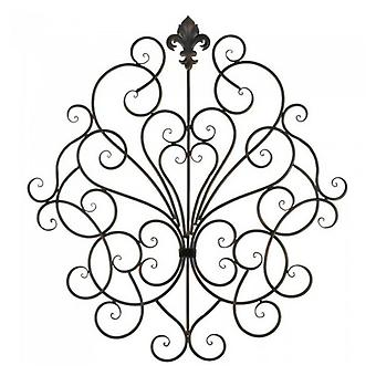 Accent Plus Scrolled Iron Wall Decor with Fleur De Lis Ornament, Pack of 1