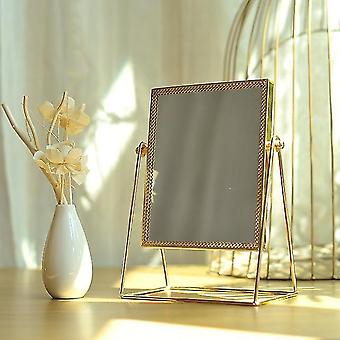 Trucco specchio luce lusso retrò europeo metallo oro specchio desktop quadrato specchio rotondo