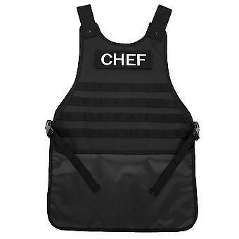 Mimigo Outdoor Chef Schürze-Kreuz Rückenschürze für Männer Frauen mit verstellbaren Riemen und großen Taschen Polyester Schwarz Farbe Freie Größe