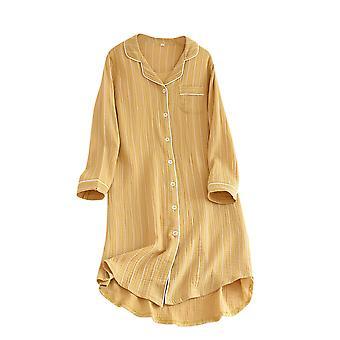 Homemiyn Women's Striped Long Sleeve Nightdress Sleepshirts Home Nightgown Bathrobe Skin-friendly Nightwear