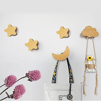 Mixed Pack Of 5 Wooden Wall Hooks Dual Mounting Methods