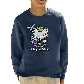 Hey Listen Link Hello Kitty Zelda Kid's Sweatshirt