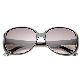 Vrouw metaal tempel Accent verloop Lens Square zonnebril 58mm
