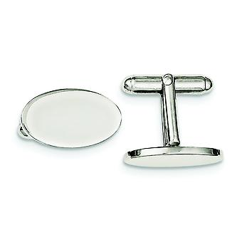 925 Sterling Silver Solid Polished Engravable Cuff Links Jewelry Gifts for Men - 11.0 Grams