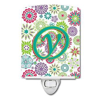 Letter Y Flowers Pink Teal Green Initial Ceramic Night Light