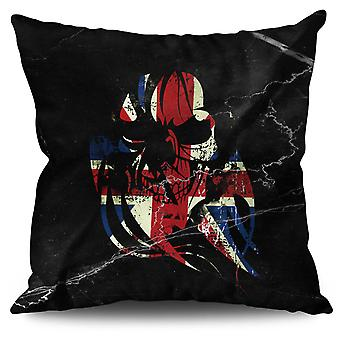 Skull Death Print Flag Linen Cushion 30cm x 30cm | Wellcoda