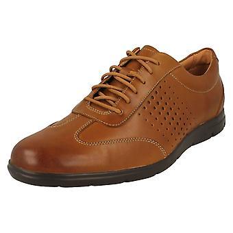 Herre Clarks Casual snøre sko Vennor Vibe - Tan læder - UK størrelse 7,5 G - EU størrelse 41,5 - US størrelse 8,5 M