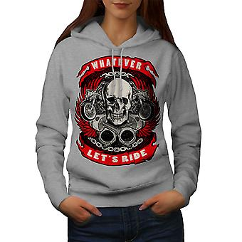Permite montar cráneo mujeres GreyHoodie | Wellcoda