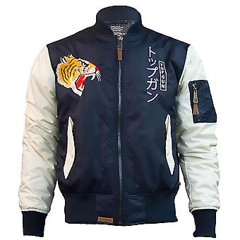 Top Gun Tiger Bomber Jacket Navy White