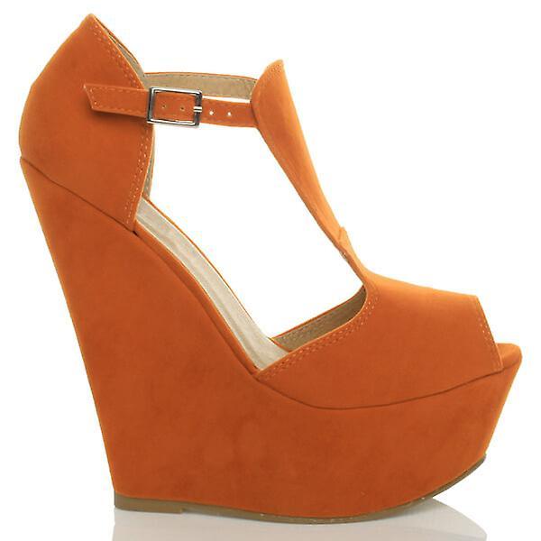Ajvani womens hoge wig hiel t-bar gluren teen schoenen platform sandalen - Gratis verzending fS1X24