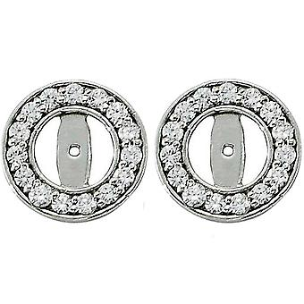 1/2ct Halo Round Diamond Studs Earring Jackets 14K Wit Gold (3.5-4mm)