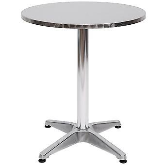 HOMCOM Aluminum Bistro Bar Table Round Tabletop Dining Wine Pub Stainless Steel Adjustable Height 70-110cm