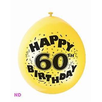 "Ballonnen gelukkig 60e verjaardag 9"" Latex ballonnen (10)"