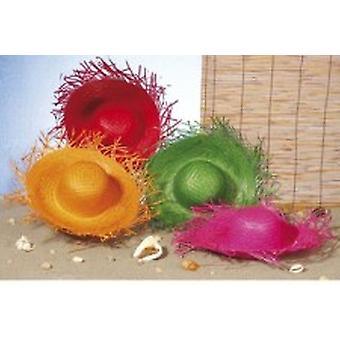 Färgad halm Beach hattar - 4-Pack