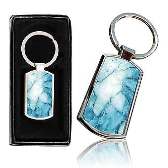 i-Tronixs - Premium Marble Design Chrome Metal Keyring with Free Gift Box (3-Pack) - 0013