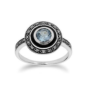 Art-Deco-Stil Runde blau Topas & schwarz Emaille Halo Ring in 925 Sterling Silber 214R599601925