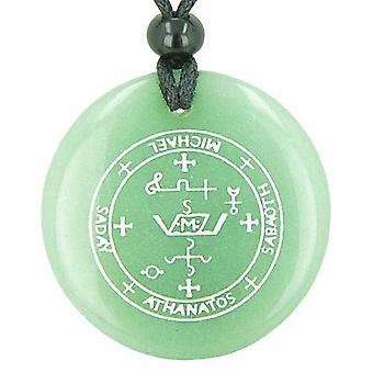 大天使ミカエルの魔法のお守り緑色のアベンチュリン円精神的なペンダント ネックレスの印章
