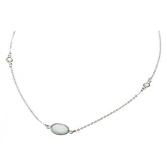 Gemshine Necklace 925 Silver Chalcedon Moonstone Sea Green White 45 cm