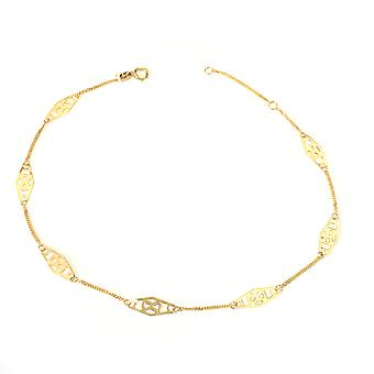 14K Yellow Gold Twisted Bar Fancy Anklet, 10