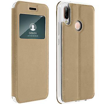 Vindu vende tilfelle, flip lommebok tilfelle med stativ for Huawei P20 Lite - gull