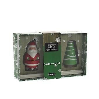 Festive Productions Christmas Cedarwood 100ml Reed Diffuser Gift Set Santa & Tree