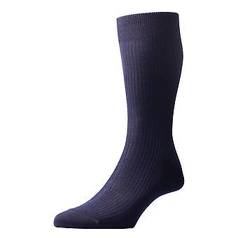 Pantherella Naish Rib Merino wollen sokken - Navy