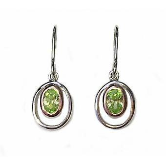 Cavendish French Silver and Peridot Green Cubic Zirconia Rennie Mackintosh Style Earrings
