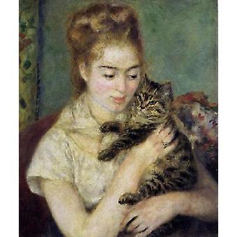 Kobieta z kotem,Pierre Renoir,556x46.4cm