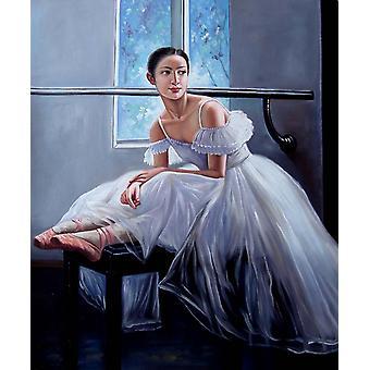 Baletní dívka, olej na plátně 50x60 cm