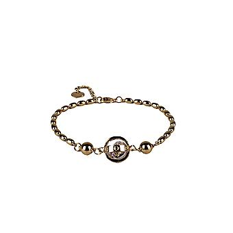 Lovemystyle Gold Bead Bracelet With Caged Diamante