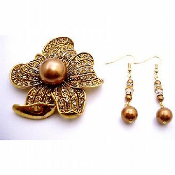 Holiday Gift Broche en oorbellen in Copper Pearl Golden Shadow Crystals