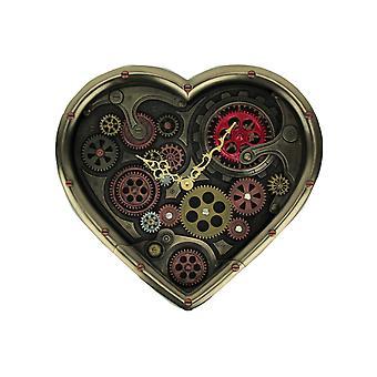 Metalen Brass Steampunk verplaatsen Gears hart gevormde Wandklok