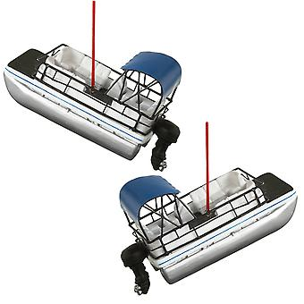 River Fishing Pontoon Party Boat Holiday Ornaments Set of 2