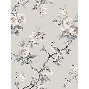 Fina decoración chinesca Floral flor aves peso pesado gris Wallpaper