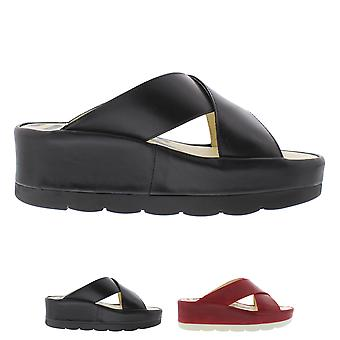 Womens Fly London Beg Rug Leather Open Toe Cut Out Wedge Heel Sandals