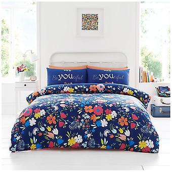Emily Floral Polycotton Duvet Cover Multi Flowers Bedding Set Pillow Case