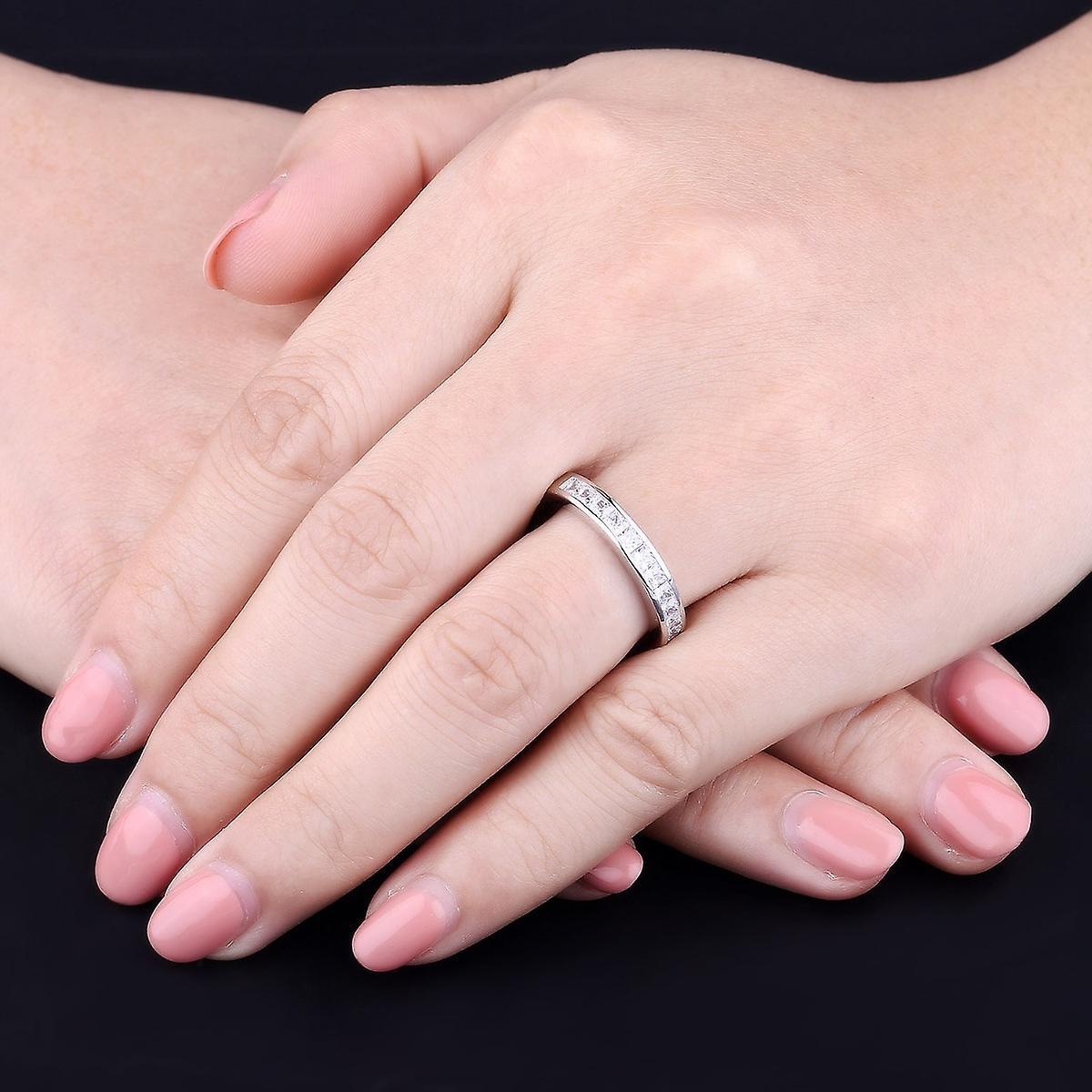 925 Sterling Silver Princess Cut Half Eternity Wedding Band Ring