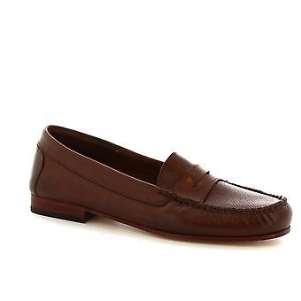 Leonardo Schuhe Frauen handgefertigte Loafer aus durchbrochenen dunklen braunen Kalbsleder