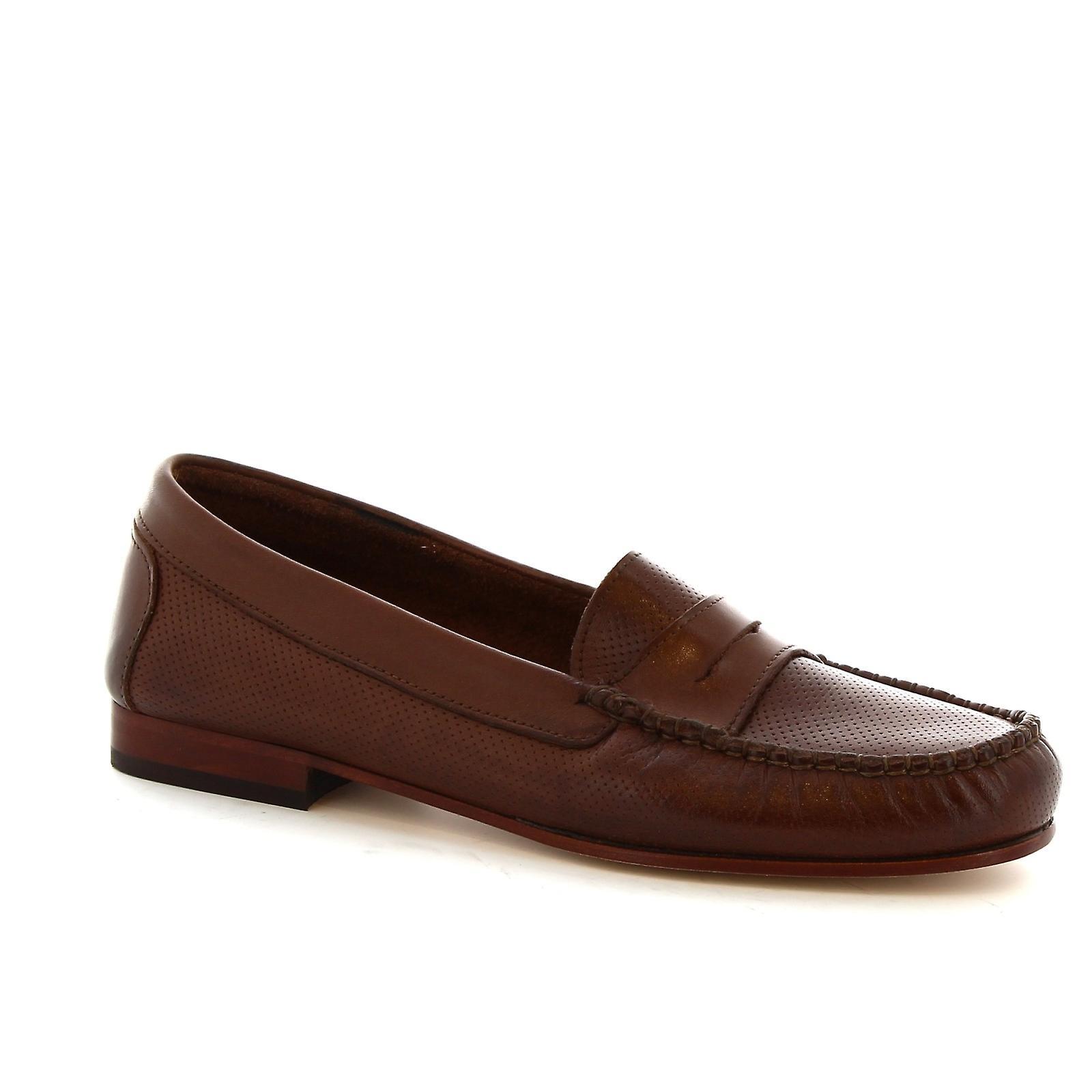 Leonardo Shoes Women's handmade loafers in openwork dark brown calf leather 6LxYo