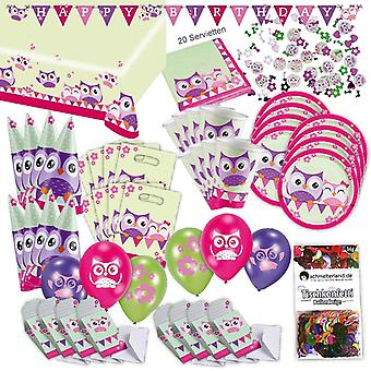 Owls toddler party set XL 78-teilig for 8 guests OWL design decoration party package