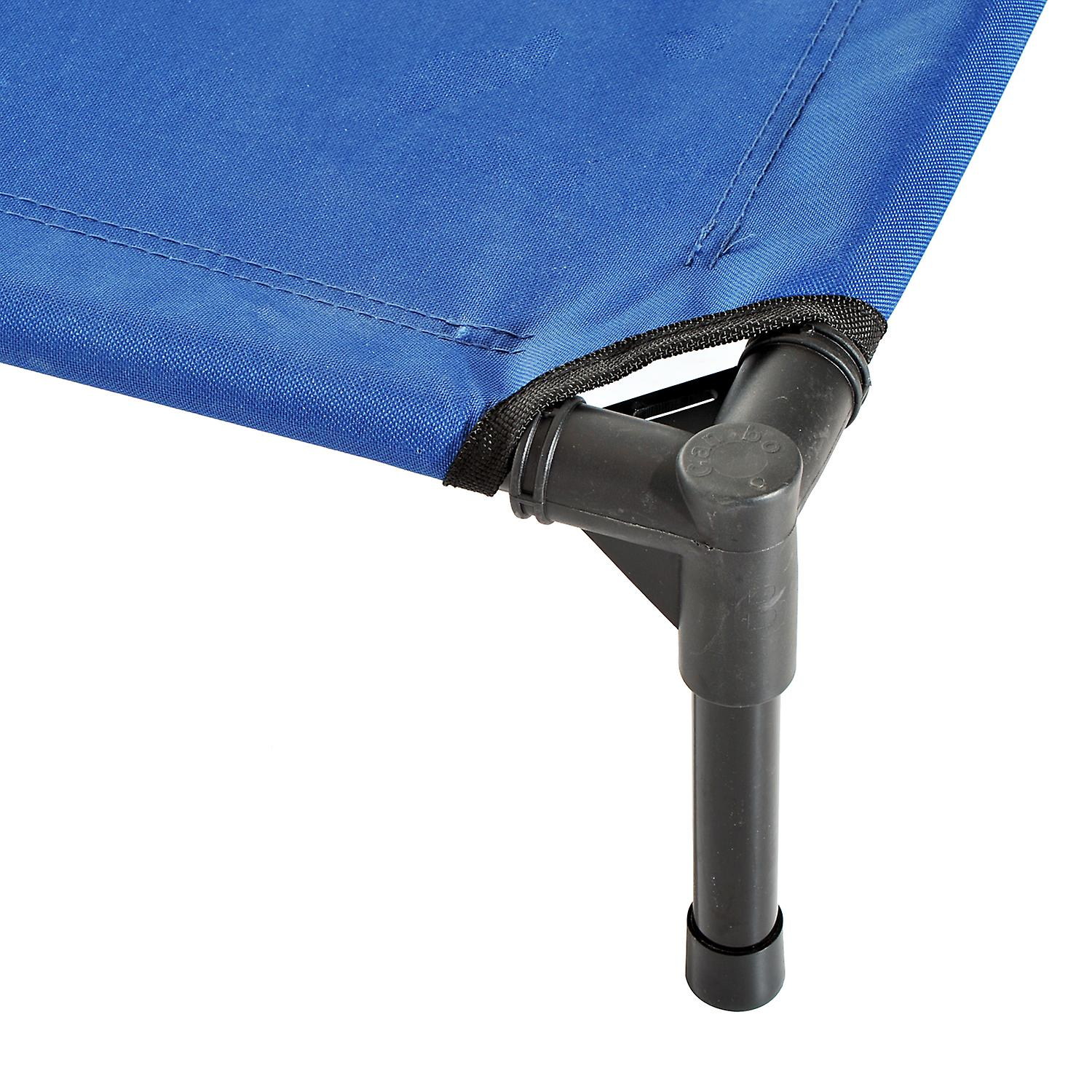 PawHut Elevated Pet Bed Portable Camping Raised Dog Bed w/ Metal Frame Blue (Medium)