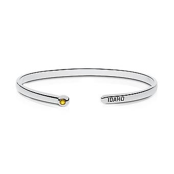 University Of Idaho Engraved Sterling Silver Yellow Sapphire Cuff Bracelet
