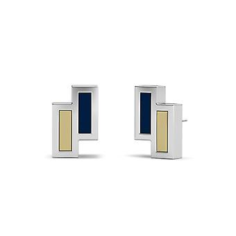 Oral Roberts University Sterling Silver Asymmetric Enamel Stud Earrings In Blue and Tan