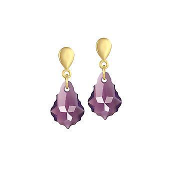 Eeuwige collectie barokke Amethist Oostenrijkse kristal Gouden Toon druppel doorboord oorbellen