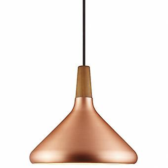 1 Light Medium Dome Ceiling Pendant Oiled Walnut, Copper