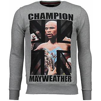 Mayweather-Rhinestone Sweatshirt-Gris