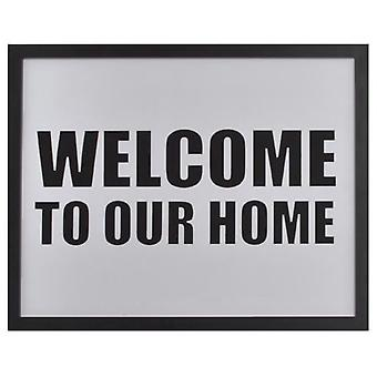 Wellindal Box  Welcome to our home  white 44x54x1,9 cm (Decoration , Pictures and frames)