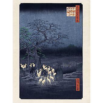 Hiroshige Kunstdruck Fox Fires on New Year's Eve at the Changing Tree in Oji, Papier 250 gr. matt 80 x 60 cm