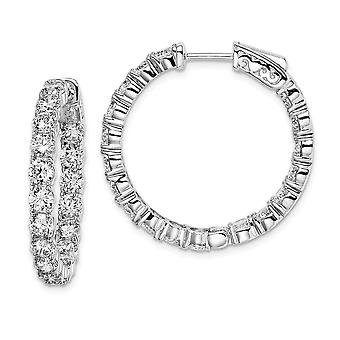 925 Sterling Silver Polished Safety clasp Rhodium plated Rhodium Plated With CZ Cubic Zirconia Simulated Diamond Hinged
