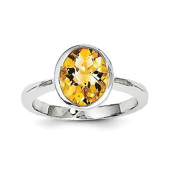 925 Sterling Silver Citrine Ring - Ring Size: 6 to 9